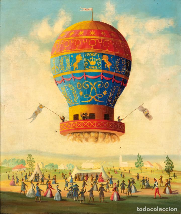 Arte: Óleo tabla Ascensión en globo Firmado Lemoine Francia siglo XIX - Foto 2 - 234769555