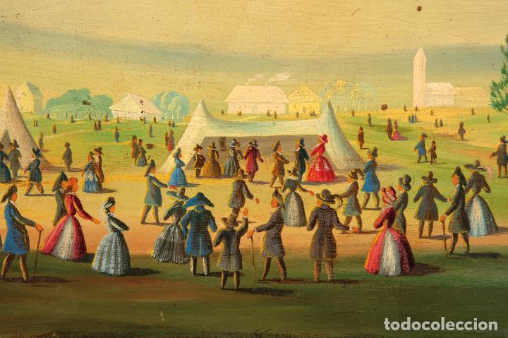 Arte: Óleo tabla Ascensión en globo Firmado Lemoine Francia siglo XIX - Foto 3 - 234769555