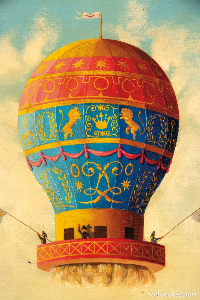 Arte: Óleo tabla Ascensión en globo Firmado Lemoine Francia siglo XIX - Foto 4 - 234769555