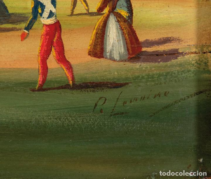 Arte: Óleo tabla Ascensión en globo Firmado Lemoine Francia siglo XIX - Foto 5 - 234769555