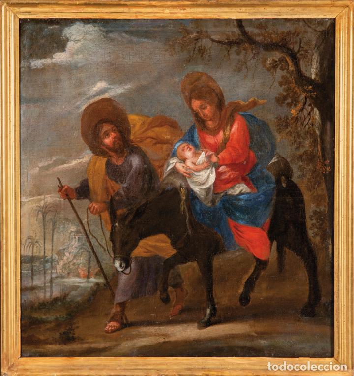 ÓLEO LIENZO LA HUIDA A EGIPTO ESCUELA ANDALUZA SIGLO XVII (Arte - Pintura - Pintura al Óleo Antigua siglo XVII)
