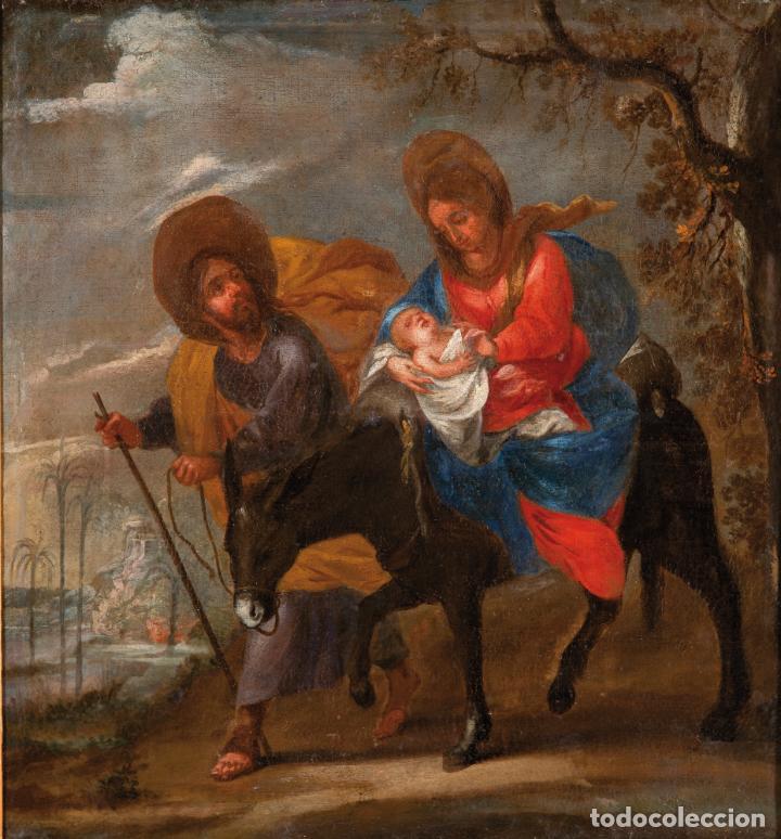 Arte: Óleo lienzo La Huida a Egipto Escuela Andaluza siglo XVII - Foto 2 - 234771055