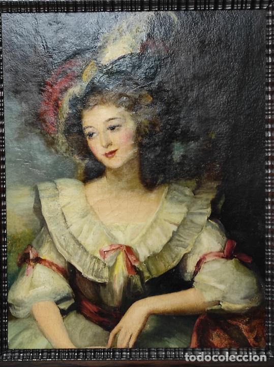 Arte: Pintura Óleo sobre Tela - Retrato de una Dama - Escuela Francesa - con Bonito Marco - S. XIX - Foto 2 - 234835185