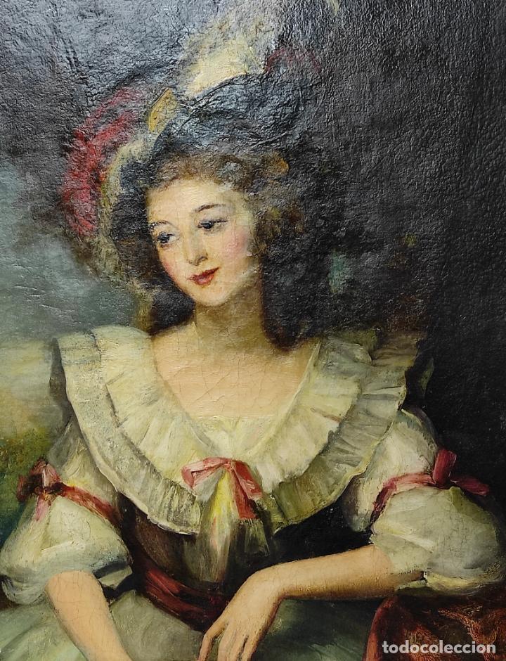 Arte: Pintura Óleo sobre Tela - Retrato de una Dama - Escuela Francesa - con Bonito Marco - S. XIX - Foto 3 - 234835185