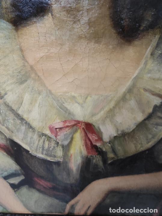 Arte: Pintura Óleo sobre Tela - Retrato de una Dama - Escuela Francesa - con Bonito Marco - S. XIX - Foto 4 - 234835185
