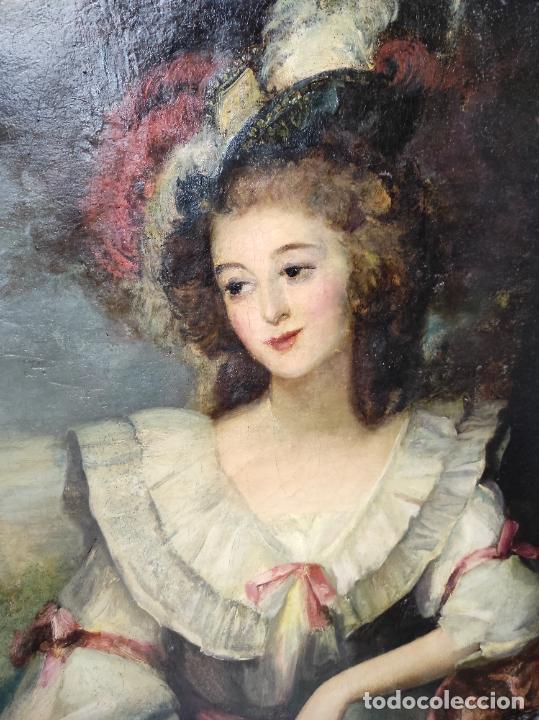 Arte: Pintura Óleo sobre Tela - Retrato de una Dama - Escuela Francesa - con Bonito Marco - S. XIX - Foto 5 - 234835185