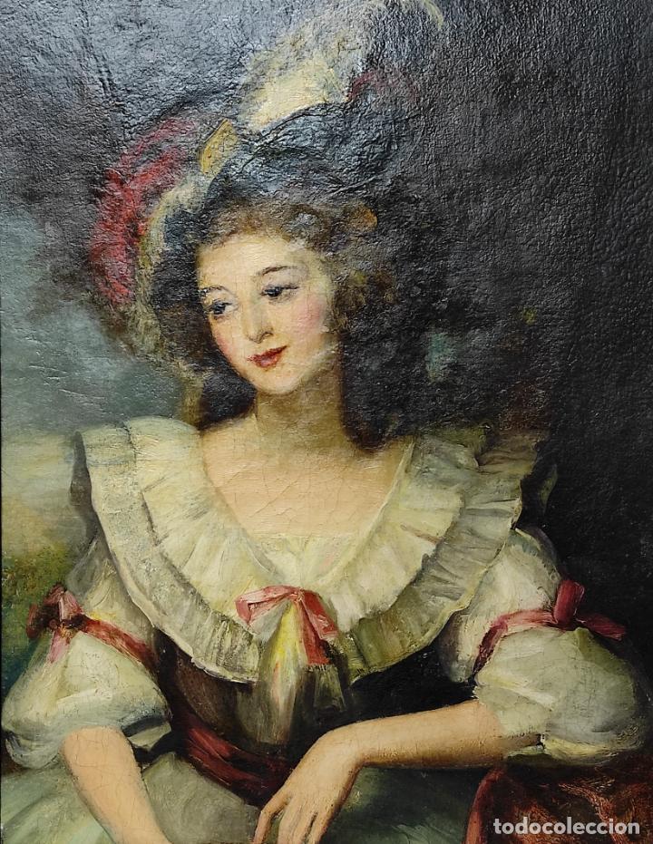 Arte: Pintura Óleo sobre Tela - Retrato de una Dama - Escuela Francesa - con Bonito Marco - S. XIX - Foto 6 - 234835185