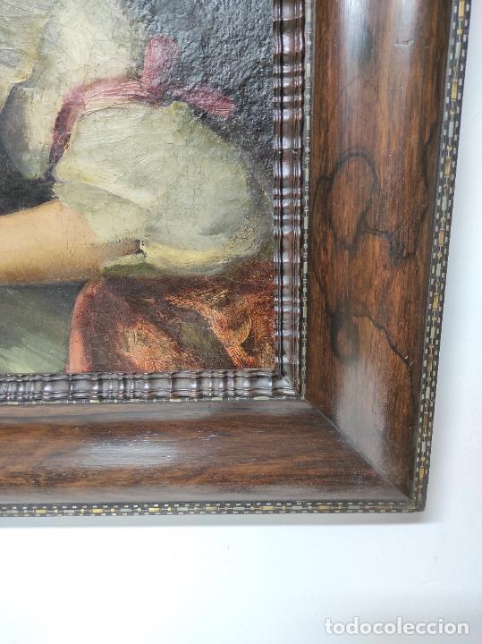 Arte: Pintura Óleo sobre Tela - Retrato de una Dama - Escuela Francesa - con Bonito Marco - S. XIX - Foto 7 - 234835185