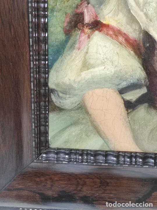 Arte: Pintura Óleo sobre Tela - Retrato de una Dama - Escuela Francesa - con Bonito Marco - S. XIX - Foto 8 - 234835185