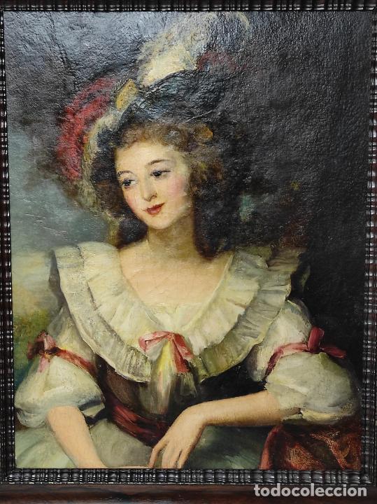Arte: Pintura Óleo sobre Tela - Retrato de una Dama - Escuela Francesa - con Bonito Marco - S. XIX - Foto 9 - 234835185