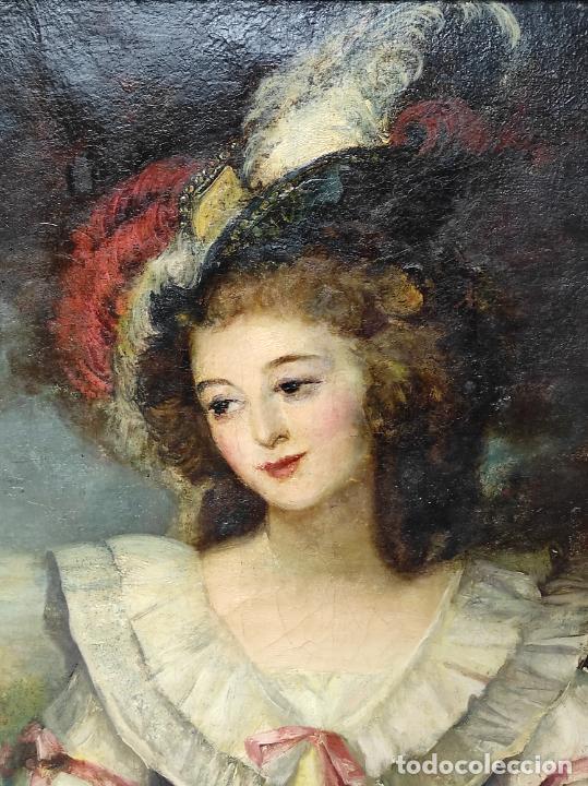Arte: Pintura Óleo sobre Tela - Retrato de una Dama - Escuela Francesa - con Bonito Marco - S. XIX - Foto 15 - 234835185