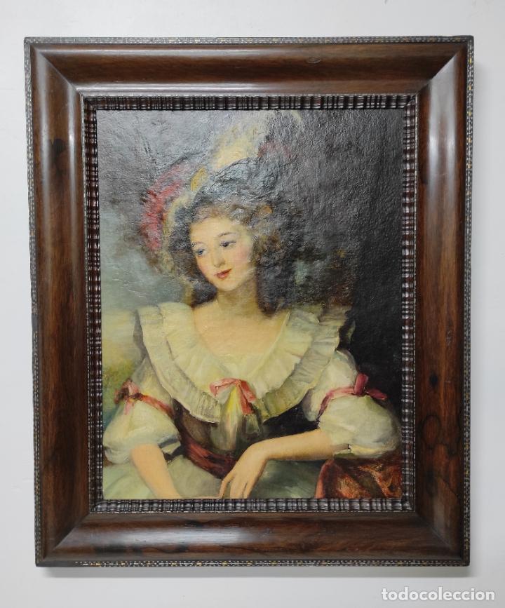 Arte: Pintura Óleo sobre Tela - Retrato de una Dama - Escuela Francesa - con Bonito Marco - S. XIX - Foto 16 - 234835185