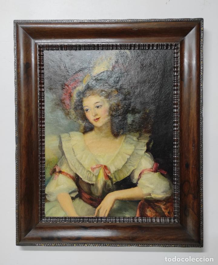 PINTURA ÓLEO SOBRE TELA - RETRATO DE UNA DAMA - ESCUELA FRANCESA - CON BONITO MARCO - S. XIX (Arte - Pintura - Pintura al Óleo Moderna siglo XIX)