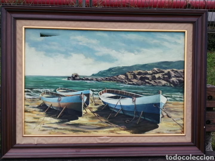 Arte: Gran óleo sobre lienzo. Barcos. - Foto 2 - 234839545