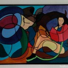 Arte: HERMOSA PINTURA LIENZO + MARCO. LA LECTURA. COMPUESTA CON UNA COMBINACIÓN DE COLORES HIPNÓTICA..... Lote 234851025