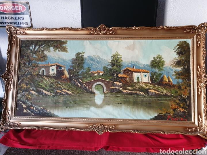 ANTIGUO CUADRO MADERA ÓLEO SOBRE LIENZO (Arte - Pintura - Pintura al Óleo Moderna sin fecha definida)