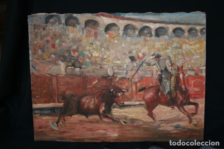 OLEO SOBRE TELA, TAURINO - CORRIDA DE TOROS, ILEGIBLE. (Arte - Pintura - Pintura al Óleo Contemporánea )