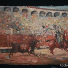 Arte: OLEO SOBRE TELA, TAURINO - CORRIDA DE TOROS, ILEGIBLE.. Lote 234911150