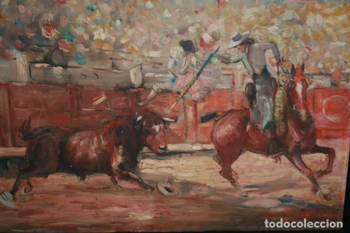 Arte: OLEO SOBRE TELA, TAURINO - CORRIDA DE TOROS, ILEGIBLE. - Foto 2 - 234911150