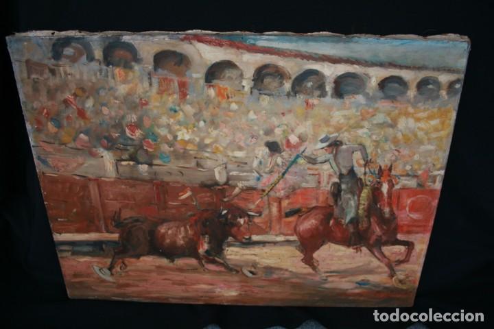 Arte: OLEO SOBRE TELA, TAURINO - CORRIDA DE TOROS, ILEGIBLE. - Foto 3 - 234911150