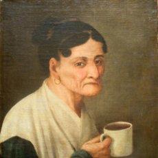 Arte: ESCUELA ESPAÑOLA S. XVII-XVIII. ÓLEO/LIENZO (REENTELADO ANTIGUO) 49 X 40 CM. MUJER CON TAZA.. Lote 234919075