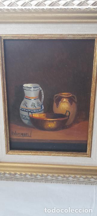 Arte: cuadro de oleo sobre tabla - Firmado Bilinquer I - bodegon . marco dorado .33x28cm - Foto 2 - 235046900