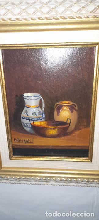 Arte: cuadro de oleo sobre tabla - Firmado Bilinquer I - bodegon . marco dorado .33x28cm - Foto 3 - 235046900
