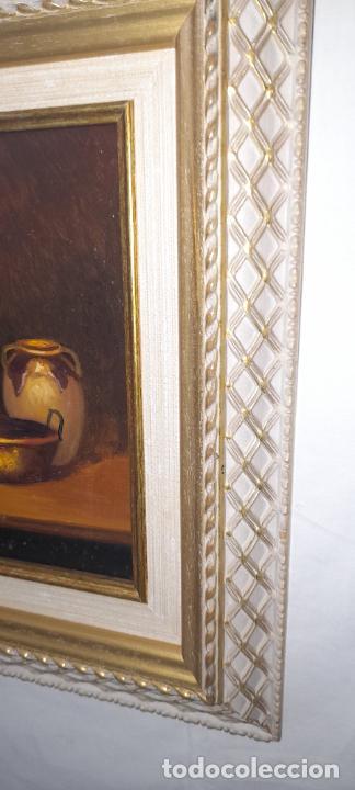 Arte: cuadro de oleo sobre tabla - Firmado Bilinquer I - bodegon . marco dorado .33x28cm - Foto 4 - 235046900