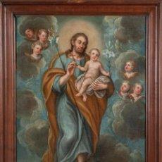 Arte: ÓLEO LIENZO SAN JOSÉ CON EL NIÑO ESCUELA VALENCIANA SIGLO XVIII. Lote 235120525