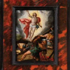Arte: ÓLEO COBRE RESURRECCIÓN DE CRISTO ESCUELA ITALIANA SIGO XVI CON MARCO DE CAREY DEL SIGLO XVII. Lote 235129915