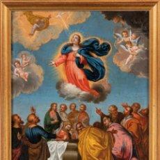 Arte: ÓLEO COBRE ASCENSIÓN DE LA VIRGEN FIRMADO GUILLERMO DE ¿AGUIRRE? 1689. Lote 235132360