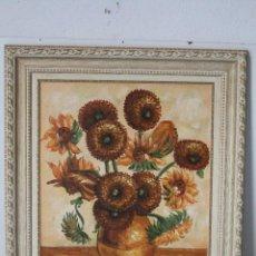 Arte: GIRASOLES, OLEO ORIGINAL FIRMADO. Lote 268860364