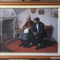 Arte: ÓLEO PP.S. XX CON FIRMA ROBERTO GONZÁLEZ - 79X63 CM - PAREJA DE ANCIANOS RURALES - MUJER TEJIENDO. Lote 235235440