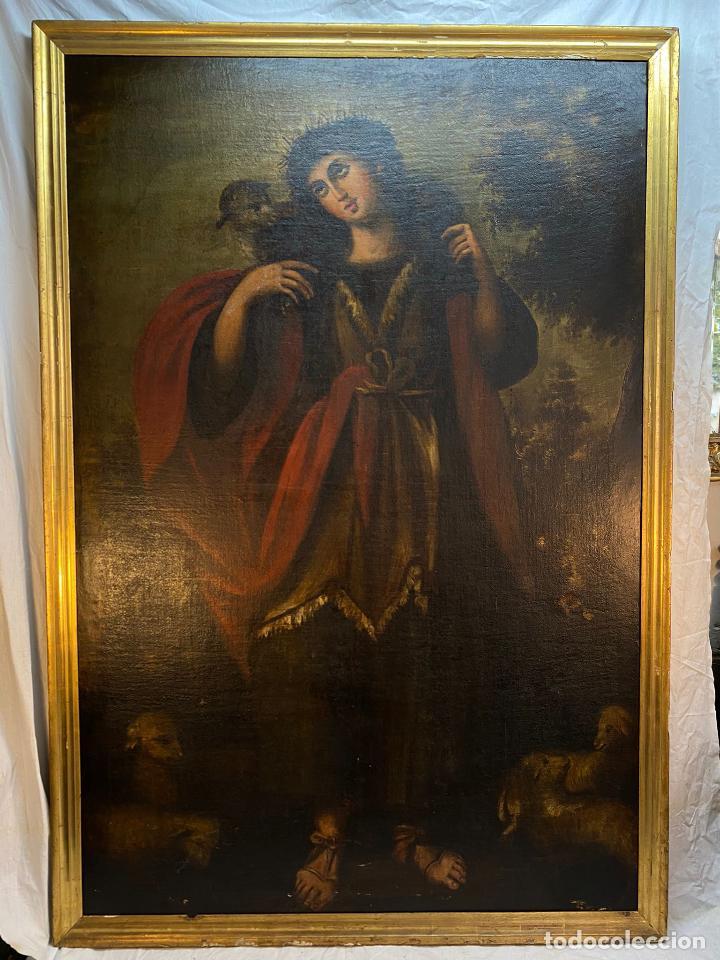 CUADRO OLEO SOBRE LIENZO DE NIÑO PASTOR REENTELADO Y CON DEFECTOS (Arte - Pintura - Pintura al Óleo Moderna sin fecha definida)