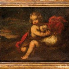 Arte: ÓLEO TABLA SAN JUANITO ATRIBUIDO A JOSÉ DE CIEZA ESCUELA GRANADINA DEL SIGLO XVII. Lote 235320205
