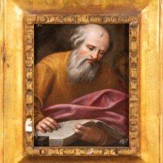 Arte: ÓLEO TABLA SAN MARCOS ESCRIBIENDO EL EVANGELIO ESCUELA VALENCIANA PRINCIPIOS DEL SIGLO XVII. Lote 235330560