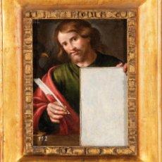 Arte: ÓLEO TABLA SAN JUAN ESCRIBIENDO EL EVANGELIO ESCUELA VALENCIANA PRINCIPIOS DEL SIGLO XVII. Lote 235331305