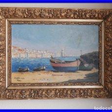 Arte: ANTIGUO CUADRO OLEO MARINA AÑO 1903 CON MARCO DE EPOCA. Lote 235524985
