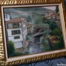 Arte: PINTURA AL OLEO CON MARCO. CASA EN EL RIO. 59 X 50CM. Lote 235542175