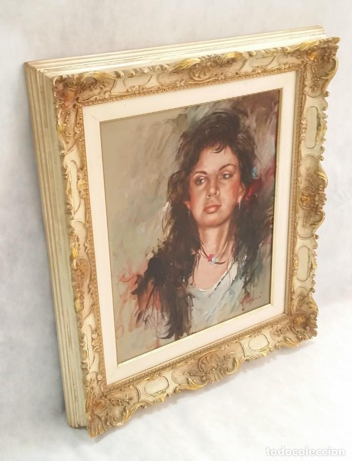 Arte: Precioso retrato de joven morena- Óleo sobre lienzo, lujosamente enmarcado - Envío gratis Península - Foto 2 - 235580620