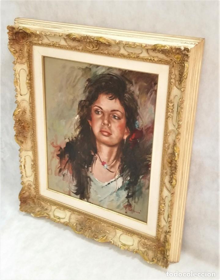 Arte: Precioso retrato de joven morena- Óleo sobre lienzo, lujosamente enmarcado - Envío gratis Península - Foto 3 - 235580620