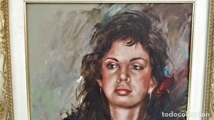 Arte: Precioso retrato de joven morena- Óleo sobre lienzo, lujosamente enmarcado - Envío gratis Península - Foto 10 - 235580620