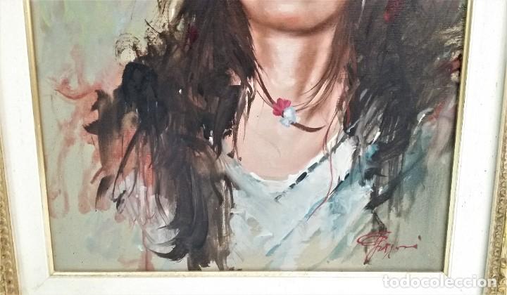 Arte: Precioso retrato de joven morena- Óleo sobre lienzo, lujosamente enmarcado - Envío gratis Península - Foto 11 - 235580620