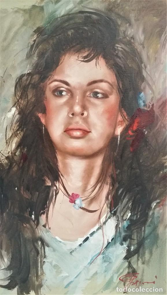 Arte: Precioso retrato de joven morena- Óleo sobre lienzo, lujosamente enmarcado - Envío gratis Península - Foto 13 - 235580620