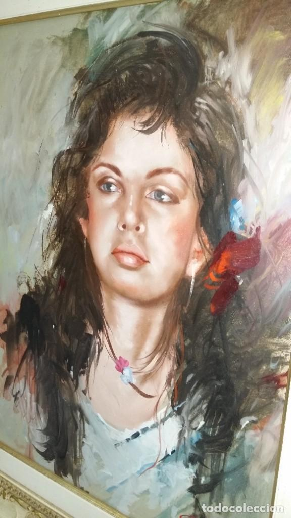 Arte: Precioso retrato de joven morena- Óleo sobre lienzo, lujosamente enmarcado - Envío gratis Península - Foto 14 - 235580620