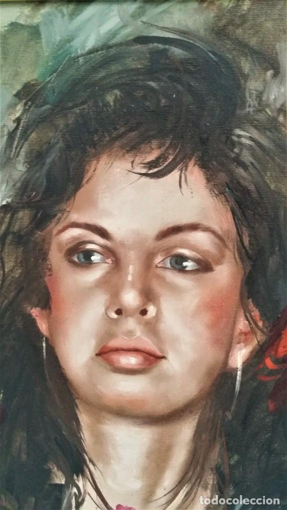 Arte: Precioso retrato de joven morena- Óleo sobre lienzo, lujosamente enmarcado - Envío gratis Península - Foto 15 - 235580620