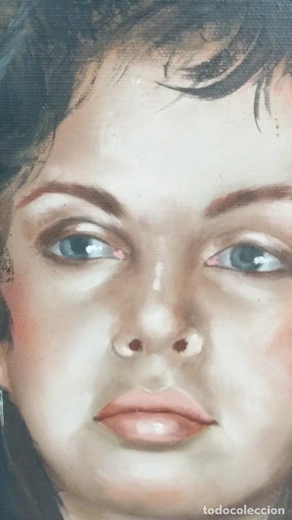 Arte: Precioso retrato de joven morena- Óleo sobre lienzo, lujosamente enmarcado - Envío gratis Península - Foto 16 - 235580620