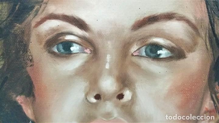 Arte: Precioso retrato de joven morena- Óleo sobre lienzo, lujosamente enmarcado - Envío gratis Península - Foto 18 - 235580620