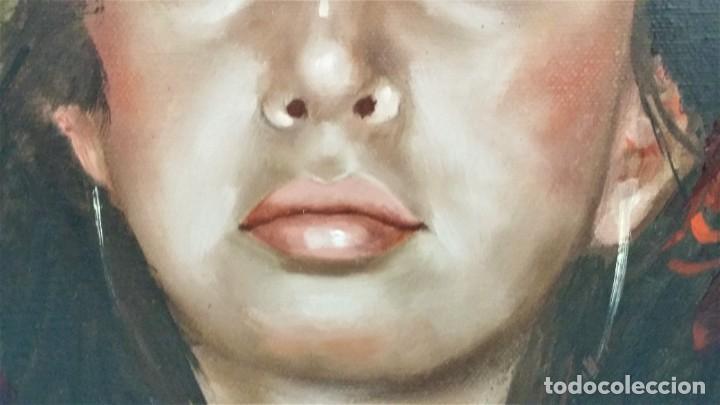 Arte: Precioso retrato de joven morena- Óleo sobre lienzo, lujosamente enmarcado - Envío gratis Península - Foto 19 - 235580620