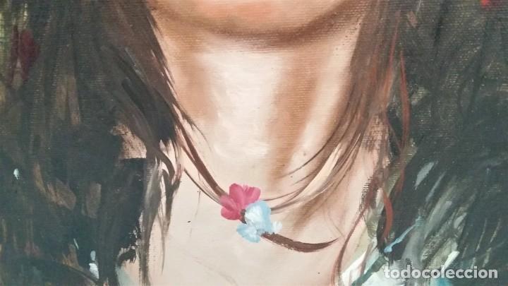 Arte: Precioso retrato de joven morena- Óleo sobre lienzo, lujosamente enmarcado - Envío gratis Península - Foto 20 - 235580620